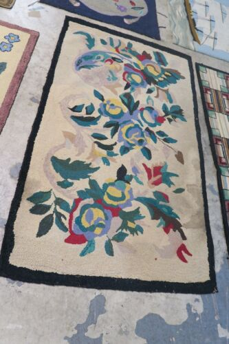 Primitive Antique American Hand Made Hooked Rug Wool on Burlap - 3