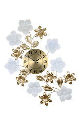 Large Metal White and Gold Floral Wall Clock Art