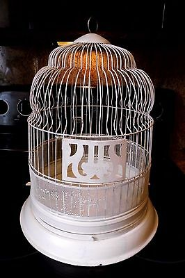"VINTAGE HENDRYX METAL DOME TOP BIRD CAGE WHITE 17 1/2"" TALL"