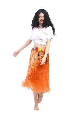 Karneval Hawaii Rock Bastrock Südsee Pazifik Hula Skirt Orange Lang 75 - 80 cm (Langer Hula Rock)