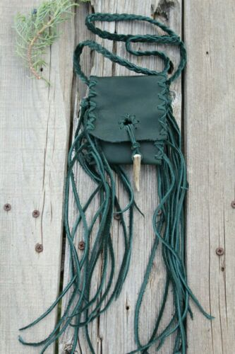 Leather necklace bag with fringe and an antler tip closure , Leather neck bag