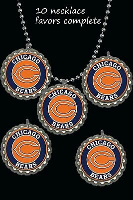 chicago bears Bottle Cap Necklaces football party favors lot of 10 necklace nfl ()