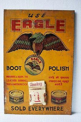 Vintage Eagle Boot Polish Advertising Tin Sign Calendar Depicting Flying Eagle#2
