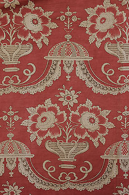 (Antique French PRINTED LINEN drape curtain 18th century design ~ block printed )
