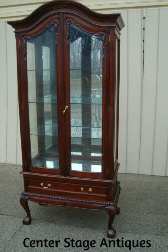 60663 Solid Mahogany Bookcase Curio Cabinet with Drawer