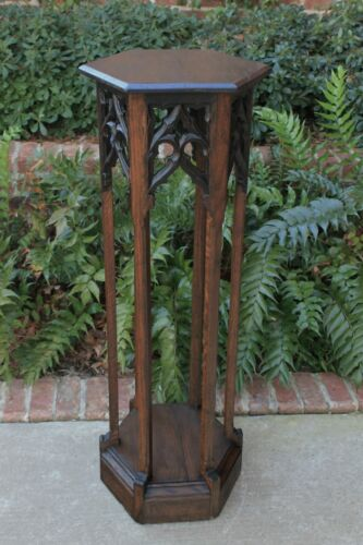 "Antique French Oak Pedestal Plant Stand GOTHIC Tracery Bronze Display 43"" 19th C"