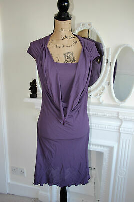 BNWT Alexander McQueen McQ Medium Purple Stretch Dress 10 12 M Waterfall Neck