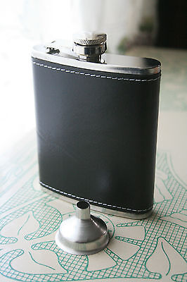 NIB Buxton Stainless Steel 7 oz. Flask, Black Leather Exterior with Funnel
