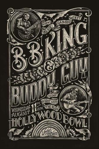 Blues: BB King & Buddy Guy at Hollywood Bowl Concert Poster 12x18