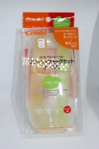 2pc Combi Japanese Baby Label Feeding Eating Set Spoon Fork Utensil in case NEW