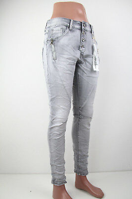 Jewelly Baggy Jeans Boyfriend Denim Stretch Italy Knopfleiste Zip RV Grey JW8163 Denim Baggy Jeans