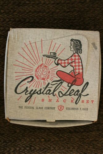 Vintage Federal Glass Crystal Leaf Luncheon Snack Set - 4 Plates 4 Cups IOB