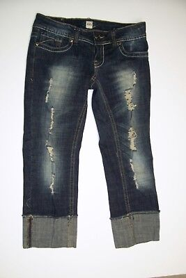 H2j Production Cropped Jean Capris sz 5/6 Distressed Destroyed Cuffed, used for sale  Holt