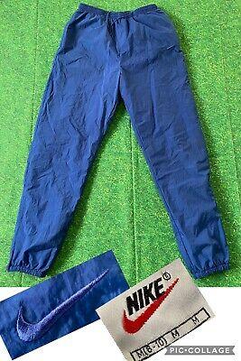 Vintage Nike Track Pants Nylon Windbreaker Joggers Swoosh 90s Men's Medium Blue