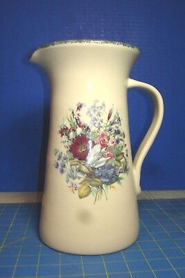 HOME GARDEN PARTY LTD LARGE COLORFUL FLOWER THEMED STONEWARE PITCHER PERFECT (Garden Themed Party)