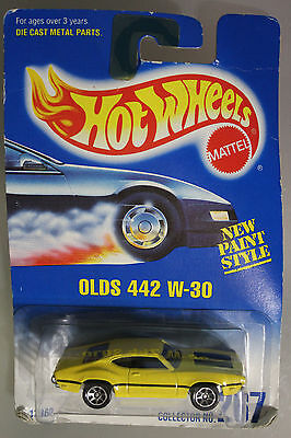 Hot Wheels 1:64 Scale 1991 OLDS 442 W-30 (YELLOW) CHROME BASE VARIANT