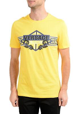 Versace Collection Men's Bright Yellow Graphic Crewneck T-Shirt Sz S M L XL 2XL