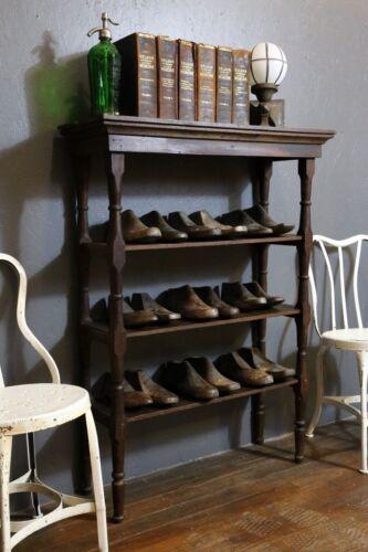 Antique Wooden Library Book Shelf Shoe Rack Primitive Vintage 3 tier Media Stand