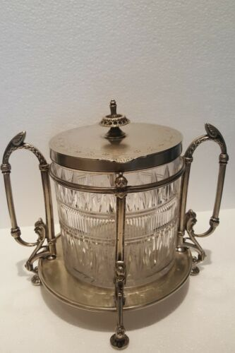 UNIQUE Antique Victorian Silver Plate and Crystal Sweets and Biscuit Jar