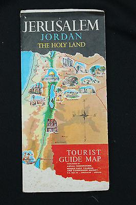 RARE Vintage1967 JERUSALEM JORDAN HOLY LAND MAP Pre SIX-DAY WAR Tourist Guide