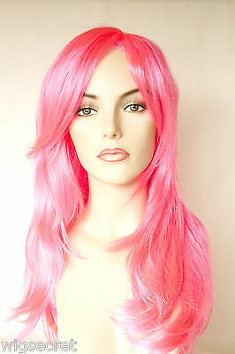 Hot Pink Blonde Long Straight Fun Color Costume - Hot Pink Wigs