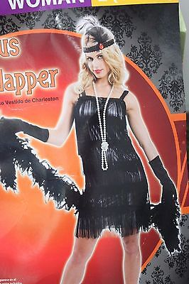 FLAPPER FRINGED DRESS ADULT COSTUME Large Women Jazz Age 1920s Sequins - Jazz Age Kostüm