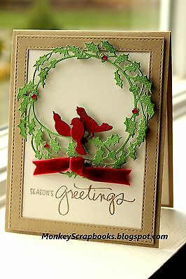 Impression Obsession HOLLY WREATH metal die set, Christmas birds