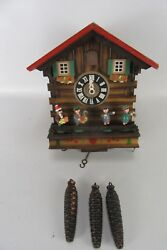 Vintage Wooden German 3 Weight Black Forest Chalet Cuckoo Clock WORKS
