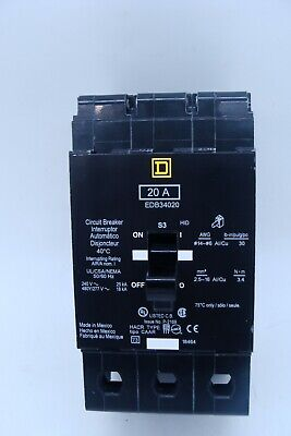 Square D 20 Amp Fuse Circuit Breaker Switch- Edb34020 Removed From New Panel