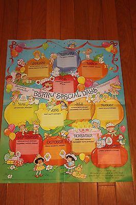 Vintage Rare Strawberry Shortcake Special Days Birthday Poster 1984 FREE SHIP