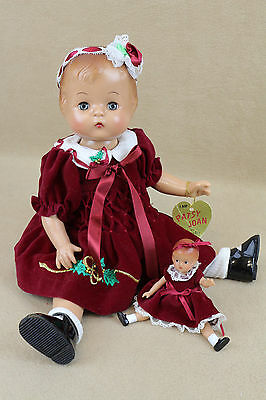 "16"" Reproduction vinyl Effanbee Patsy Joan & Wee Patsy Doll in Christmas dress"