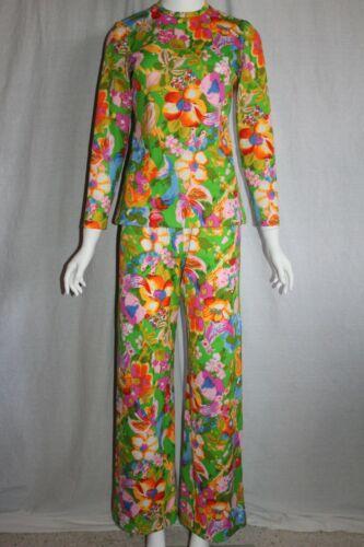 70s MIRIAM SUSSKIN for MEL NAFTAL floral 2-pc womens vintage suit pants & top S