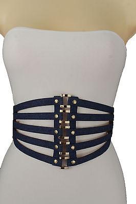 Denim Metallic Belt (Women High Waist Wide Fabric Stripes Fashion Belt Gold Metal Ring Pink Denim S)