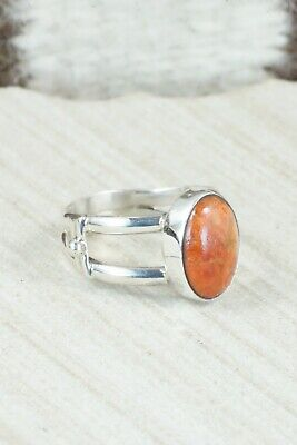 Coral Sterling Silver Ring - Navajo - Size 8.75 - $50.00