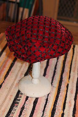 Vintage Red Velvet Hat Black Criss Crosses Designer Amy NY