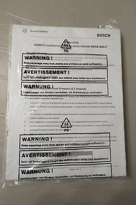 Bosch Addendum Dvr 670 Installation And Operation Manual Am18-q0617