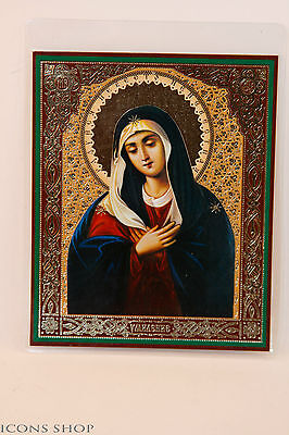 Icon of the Mother of God Affection on wood Base 10x12cm УМИЛЕНИЕ ИКОНА