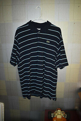 Lacoste Men's Short Sleeve Casual Golf Polo Shirt Blue Stripe Size 7