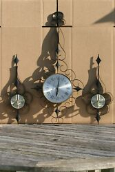 Rare Vintage ELGIN Metal Wall Clock w/2 Candle Holder By ELGIN MADE IN GERMANY