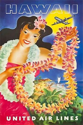 Hawaii United Airlines (Hawaii United Airlines Travel Advert Retro style metal wall sign plaque, holiday)