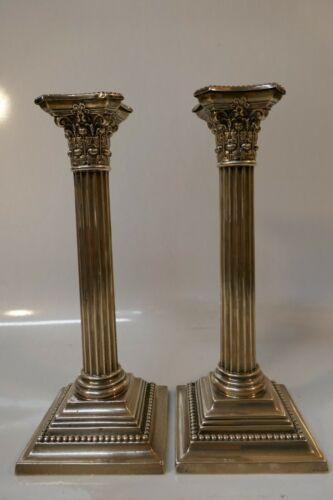 """Antique Gorham Weighted Sterling Silver Corinthian Colum Candle Sticks - 10.25"""""""