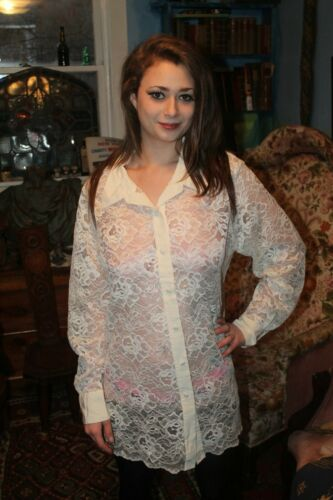 Vintage  Sheer Lace Nightie Night Shirt Top
