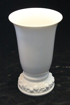 Pièce vase en porcelaine blanc Émaillé fleurs encadrement marque rosenthal rose