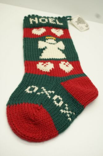 Hand Knitted Christmas Stocking, Angel, Noel, Pillow Talk, WA, 18 inches
