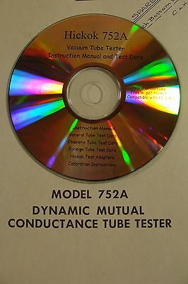 Hickok 752a Tube Tester Calibration Procedure Test Data  Owners Manual Cdrom