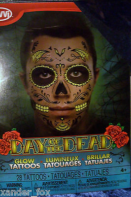 Day of the Dead Face TATTOO! Male Man Face Tattoo Halloween GLOWS IN DARK Skull! (Day Of The Dead Halloween Faces)
