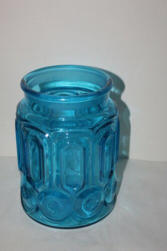 """Vintage LE Smith Moon & Star Colonial BLUE Glass Canister Apothecary 9 1/2"""" Tall"""