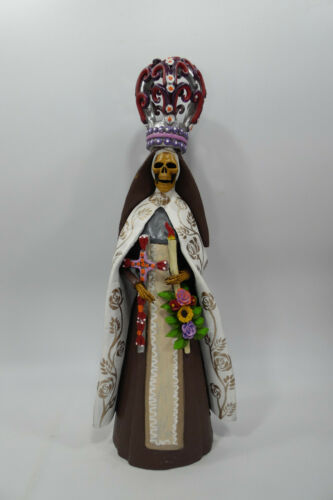 "FINE ART CATRINA mexican day of the dead folk art handmade clay figure 16"""