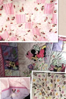 Minnie Mouse cot quilt and sheet set Coomera Gold Coast North Preview