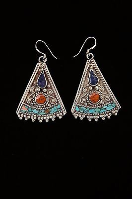 """UNIQUE LAPIS TURQUOISE CORAL NEPALESE NEPAL EARRING TIBETAN  EARRING 2.3"""""""